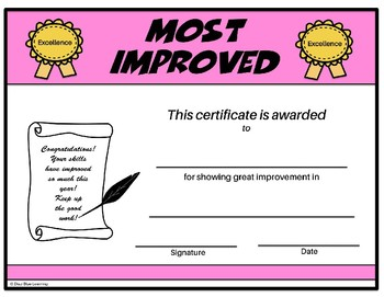 Most Improved Certificate - Editable