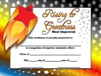 Most Improved Certificates - Rising to Greatness Awards Stars Theme King Virtue