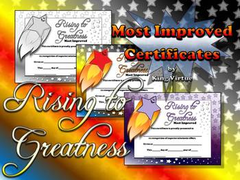 Most Improved Certificates - Rising to Greatness Awards St