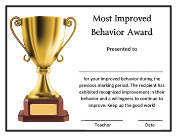 Most Improved Classroom Behavior Award