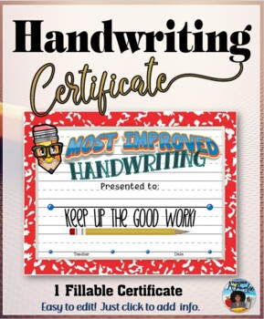 Most Improved Handwriting Certificate