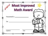 Most Improved Math Award Boy #3