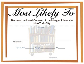 """Most Likely To:""  45 Superlative Awards for Year-End!  For Grades 3-6"