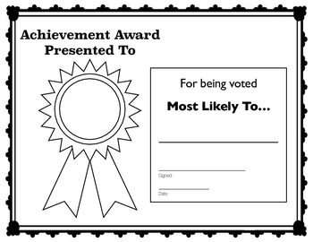 """""""Most Likely To"""" Achievement Award"""