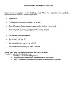 Most Progressive Essay Assignment