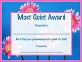 Most Quiet Student Award