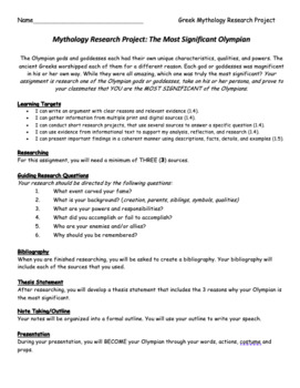 Most Significant God or Goddess: Greek Mythology Research Project/Speech