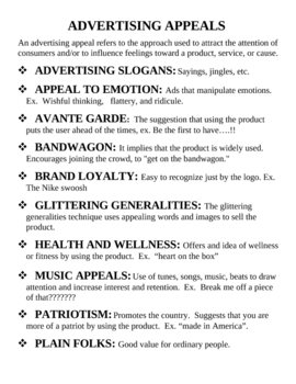 Most common advertising appeals
