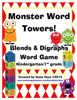 Moster Word Towers Game - Blends and Digraphs