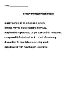 Mostly Monsterly Vocabulary