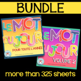 Mot du jour BUNDLE   French sight words practice with word of the day worksheets