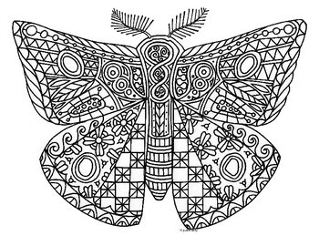 Moth Insect Zentangle Coloring Page