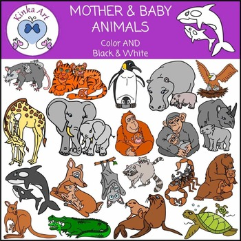 Mother & Baby Animal Clip Art