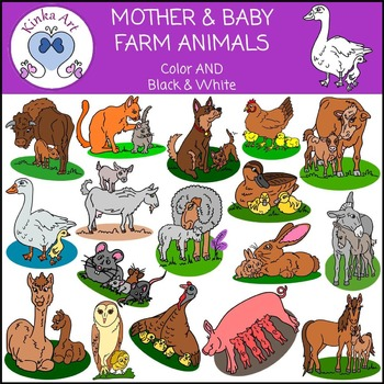Mother & Baby Farm Animals Clip Art