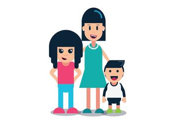 Mother & Children - White Background