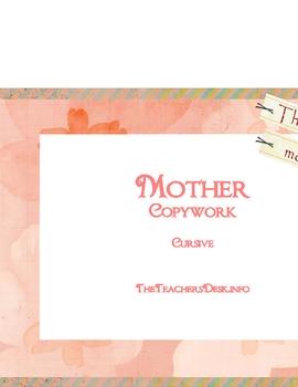 Mother Copywork - Cursive