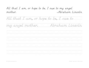 Mother Copywork - Manuscript