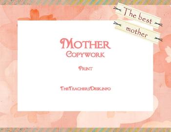 Mother Copywork - Print