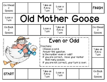 Mother Goose Game Even Odd Numbers