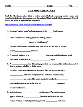 Mother Sauce Web Reading Activity for Culinary Arts and other FCS Foods Courses