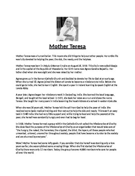Mother Teresa Biography Article and Assignment Worksheet