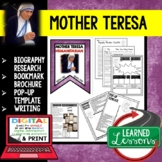 Mother Teresa Biography Research, Bookmark, Pop-Up, Writing