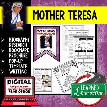 Mother Teresa Biography Research, Bookmark, Pop-Up, Writing