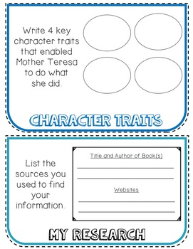Mother Teresa Biography Research Project, Flip Book, Women's History Month