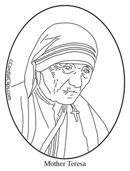 Mother Teresa Clip Art, Coloring Page or Mini Poster