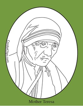 Mother Teresa Clip Art, Coloring Page or Mini Poster by Cordial Clips