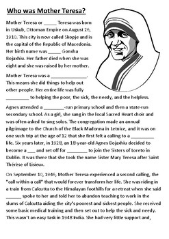Mother Teresa Cloze Activity