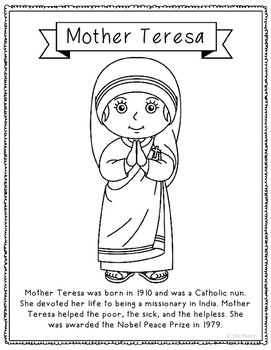 Mother Teresa Coloring Page Activity or Poster with Mini B