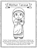 Mother Teresa Coloring Page Craft or Poster with Mini Biography, Catholic