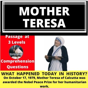 Mother Teresa, Differentiated Reading Passage, October 17