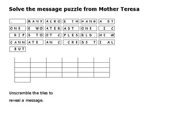Mother Teresa Message Puzzle