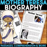 Mother Teresa Reading Passage, Biography Report, & Comprehension Activities