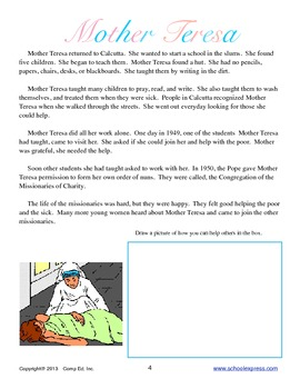 Mother Teresa Thematic Unit