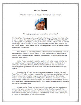 Mother Teresa Reading Passage with Debate and Writing Prompt