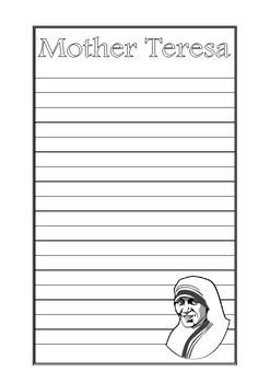 Mother Teresa Writing Paper