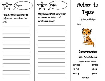 Mother To Tigers Trifold - Treasures 3rd Grade Unit 6 Week 4 (2009)
