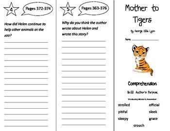 Mother To Tigers Trifold - Treasures 3rd Grade Unit 6 Week