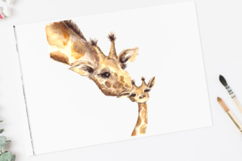 Mother and Baby - Giraffes - Watercolor Clipart and Print