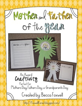 Mother and Father of the Year {an Award Craftivity for Mothers Day, Fathers Day}