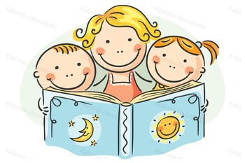 Mother and Kids Reading Together