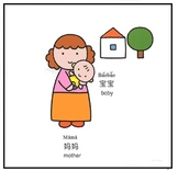 Mother and baby bilingual english and chinese flash card