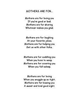 Mother's Are For... Mother's Day Poem