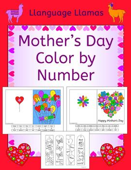 Mother's Day Color by number cards and bookmarks