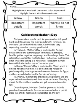 NO PREP 3 Step Close Reading - Mother's Day
