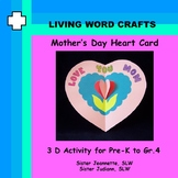 Mother's Day 3D Heart Card for Grades Pre-K to Gr.4