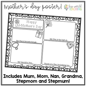 Mother's Day A3 Poster Card (Australian and American Spelling)